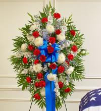 Red, White and Blue Sympathy Standing Spray