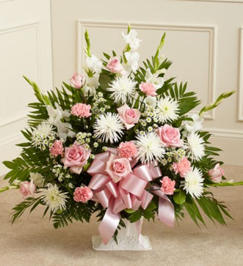 Pink and White Sympathy Floor Basket