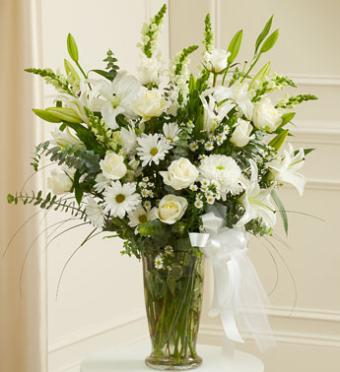 White Large Sympathy Vase Arrangement