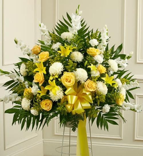 Yellow and White Sympathy Basket